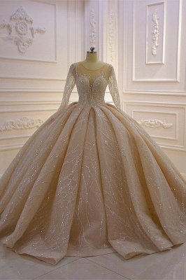 Shiny Ball Gown Tulle Jewel Long Sleeves Ruffles Wedding Dress