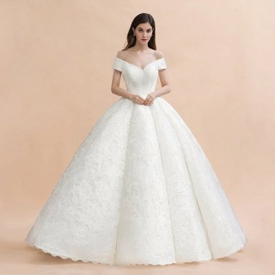 Off Shoulder Floor Length Bridal Gowns Lace Appliques Chapel Train Wedding Dress