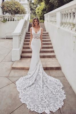 Gorgeous Train Sleeveless V-neck Lace mermaid wedding dresses_1