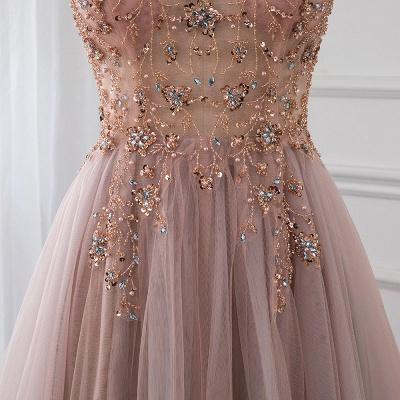 Vestidos de baile de cristal namorado com alças de tule espaguete vestido de noite dividido lado_11