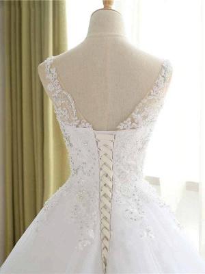 Vestidos de novia con cuentas de encaje de lujo 2021 Correas con cuello en V Vestido largo de baile Vestido de novia para fiesta de boda_4