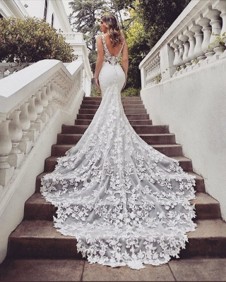 Gorgeous Train Sleeveless V-neck Lace mermaid wedding dresses_3