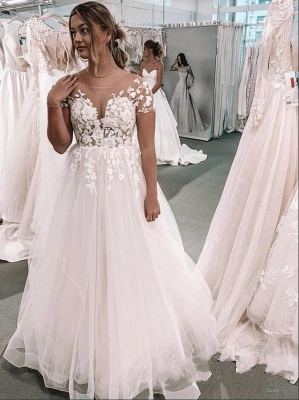 Romantic Short Sleeves White 3D Floral Lace Tulle A-line Wedding Dress_2