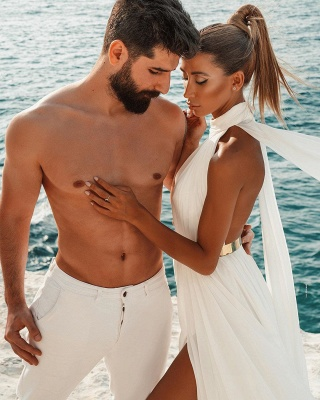Halter White Chiffon Beach Wedding Dress Long Simple Bridal Dress with Split_4