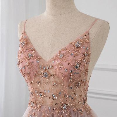 Vestidos de baile de cristal namorado com alças de tule espaguete vestido de noite dividido lado_10