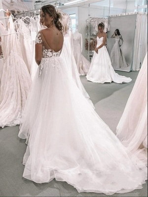 Romantic Short Sleeves White 3D Floral Lace Tulle A-line Wedding Dress_3