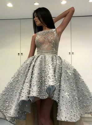 Gorgeous Sleeveless  Satin Short Hi-Lo Cocktail Dress Homecoming Dress_2