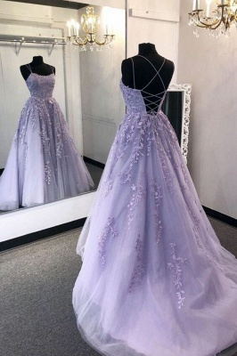 Spaghetti Straps Sweetheart Evening Dress Tulle Floral Appliques Backless Prom Party Dress_1
