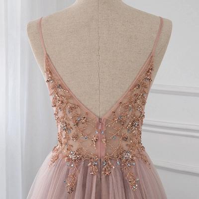 Vestidos de baile de cristal namorado com alças de tule espaguete vestido de noite dividido lado_12