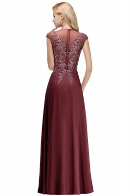 Cap Sleeve Lace Appliques Beads Slim A-line Evening Prom Dress for Women_2