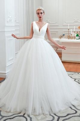 مثير الخامس الرقبة بلا أكمام فستان زفاف الأميرة الربيع | فساتين زفاف أنيقة منخفضة الظهر مع حزام_3