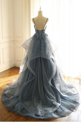 Серые вечерние платья Тюль с V-образным вырезом и длинными рукавами с длинными рукавами и бисером_3