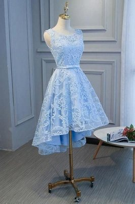 Hi-lo Homecoming Dress Short Sky Blue Sleeveless Floral Appliques A-line Mini Dress