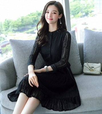 White Lace See-through Look Guipure lace A-line Stand Collar Midi Dresses_4