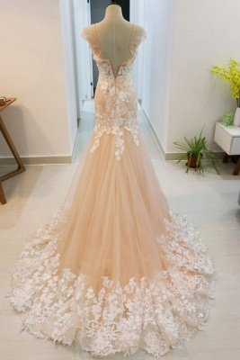 Peach Mermaid  Formal Prom Evening Dress Sleeveless Tulle Lace Appliques_2