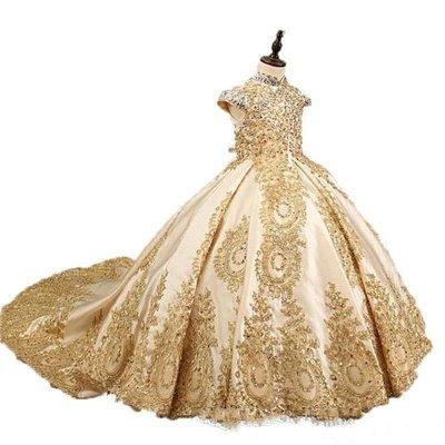 Vestido de fiesta dorado Princesa Vestidos de niña de flores con cuentas Vestidos de desfile de niñas pequeñas_4