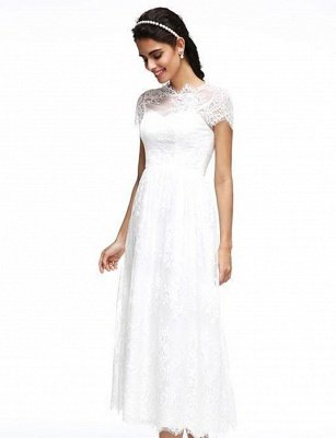 A-Line Wedding Dresses Jewel Neck Tea Length Lace Short Sleeve Simple Casual Illusion  Backless_6