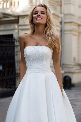 Simple Strapless White A-line Zipper up A-line Princess Wedding Dress_3