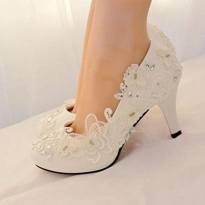 Ivory Butterfly Lace Silver Beaded Wedding Shoes
