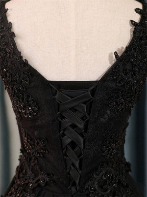 Elegant Black Homecoming Graduacion Dresses  Lace Applique Beaded Tulle Short Prom Dress Homecoming Dress_5
