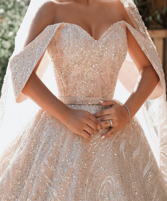 Luxurious Off-the-Shoulder Sequins Ball Gowns for Women A-line Satin Wedding Gowns_4