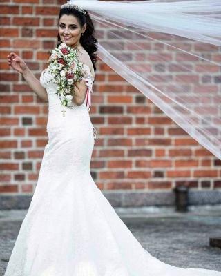 Off Shoulder White Garden Mermaid Bridal Gown_4