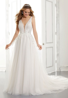 White V-Neck Backless Wedding Dress Tulle Lace Appliques Bridal Gowns_4