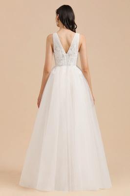 Apliques de encaje de tul con cuello en V marfil Vestido de novia simple Vestidos de novia de jardín Longitud del piso_2