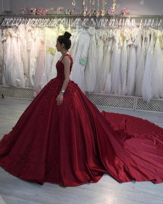 Red A-line Ball Gown with Long Sweep Train Sweetheart Straps_3