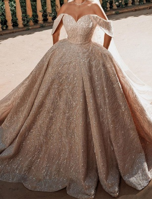 Luxurious Off-the-Shoulder Sequins Ball Gowns for Women A-line Satin Wedding Gowns