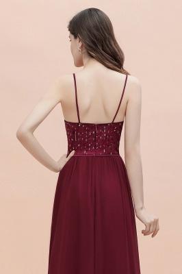 Col en V bretelles A-ligne robe de demoiselle d'honneur robe de soirée paillettes_10