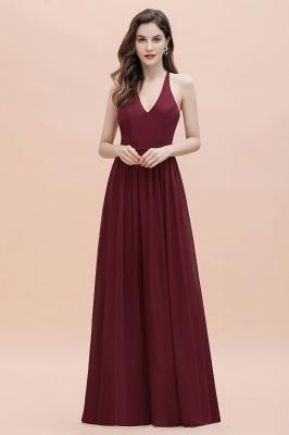Burgundy Sleeveless V-neck Beaded Back Chiffon Bridesmaid Dress_8