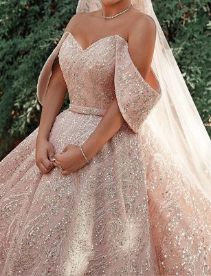Luxurious Off-the-Shoulder Sequins Ball Gowns for Women A-line Satin Wedding Gowns_5