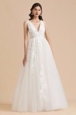 Apliques de encaje de tul con cuello en V marfil Vestido de novia simple Vestidos de novia de jardín Longitud del piso_6