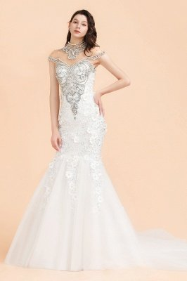 Sparkle High neck Mermaid Silver Beaded White Wedding Dress