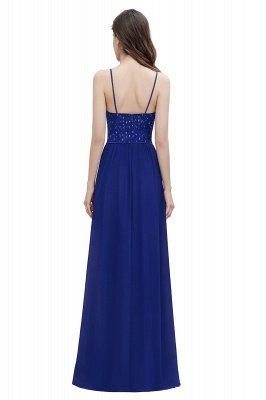 V-образный вырез Ремни А-силуэта Платье для подружки невесты Вечернее платье с пайетками_2
