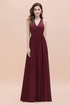 Vestido de noite de chiffon com decote em A maxi vestido sem mangas dama de honra vestido de noiva_7