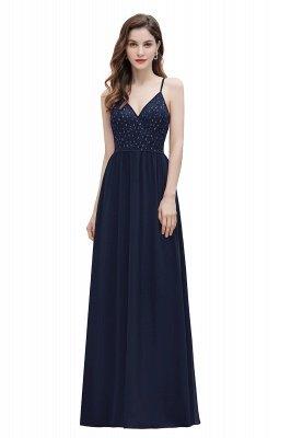 Correas con cuello en V Vestido de dama de honor de una línea Vestido de noche de lentejuelas_3