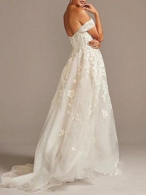 A-Line Wedding Dresses Off Shoulder  Tulle Short Sleeve Sweep Train Lace Illusion_2