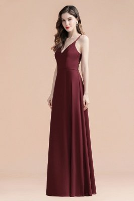 Elegant V-Neck Chiffon Evening Prom Dress for Women Straps Formal Maxi Dress_7