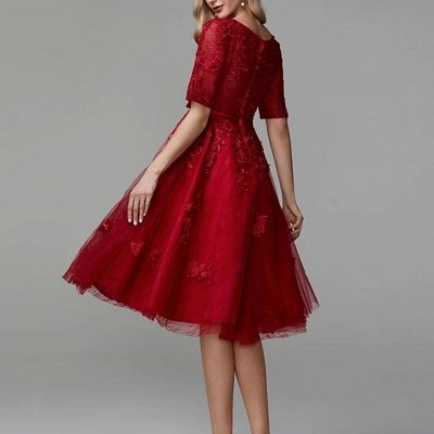 Burgundy Half Sleeves Burgundy Tulle Lace Formal Dress Short Daily Wear Dress_3