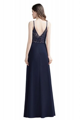 Elegant V-Neck Chiffon Evening Prom Dress for Women Straps Formal Maxi Dress_11