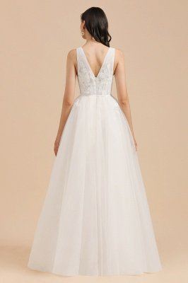 Ivory V-Neck Tulle Lace Appliques Simple Wedding Dress Garden Wedding Gowns Floor Length_2