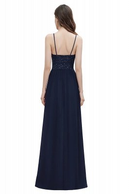V-образный вырез Ремни А-силуэта Платье для подружки невесты Вечернее платье с пайетками_15