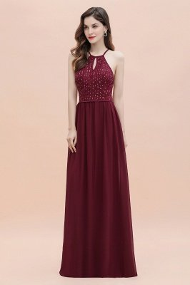 Вечернее платье трапециевидной формы с пайетками на шее, элегантное шифоновое вечернее платье макси_7
