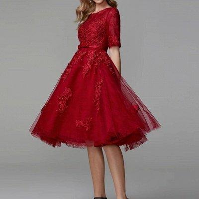 Burgundy Half Sleeves Burgundy Tulle Lace Formal Dress Short Daily Wear Dress_2