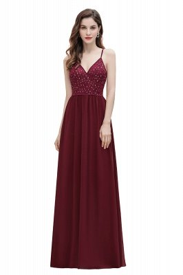 V-образный вырез Ремни А-силуэта Платье для подружки невесты Вечернее платье с пайетками_1