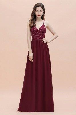 V-образный вырез Ремни А-силуэта Платье для подружки невесты Вечернее платье с пайетками_9