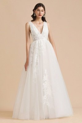 Ivory V-Neck Tulle Lace Appliques Simple Wedding Dress Garden Wedding Gowns Floor Length_6