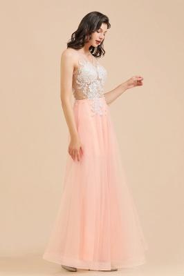Apliques de encaje de cuello redondo simple Vestido de noche rosado de una línea_9